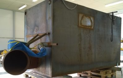 Clewat prototype of the snow purification unit, a steel filter system will be mounted in the end of the metal pipeline