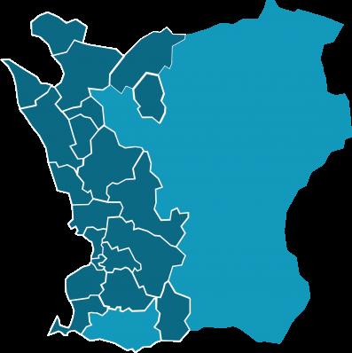 Karta över Skåne där 20 kommuner är ifyllda i blått och visar var SWR finns representerade via sina ägare.
